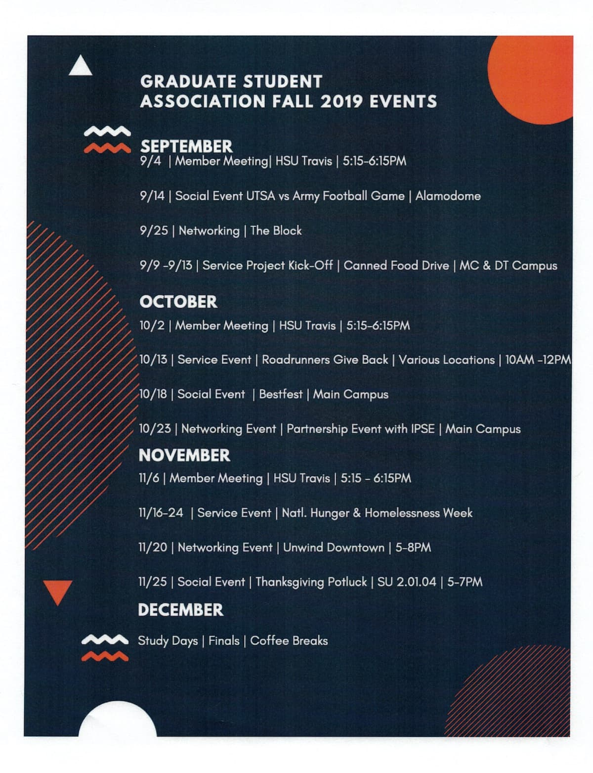 Graduate Student Association Fall 2019 Events Schedule